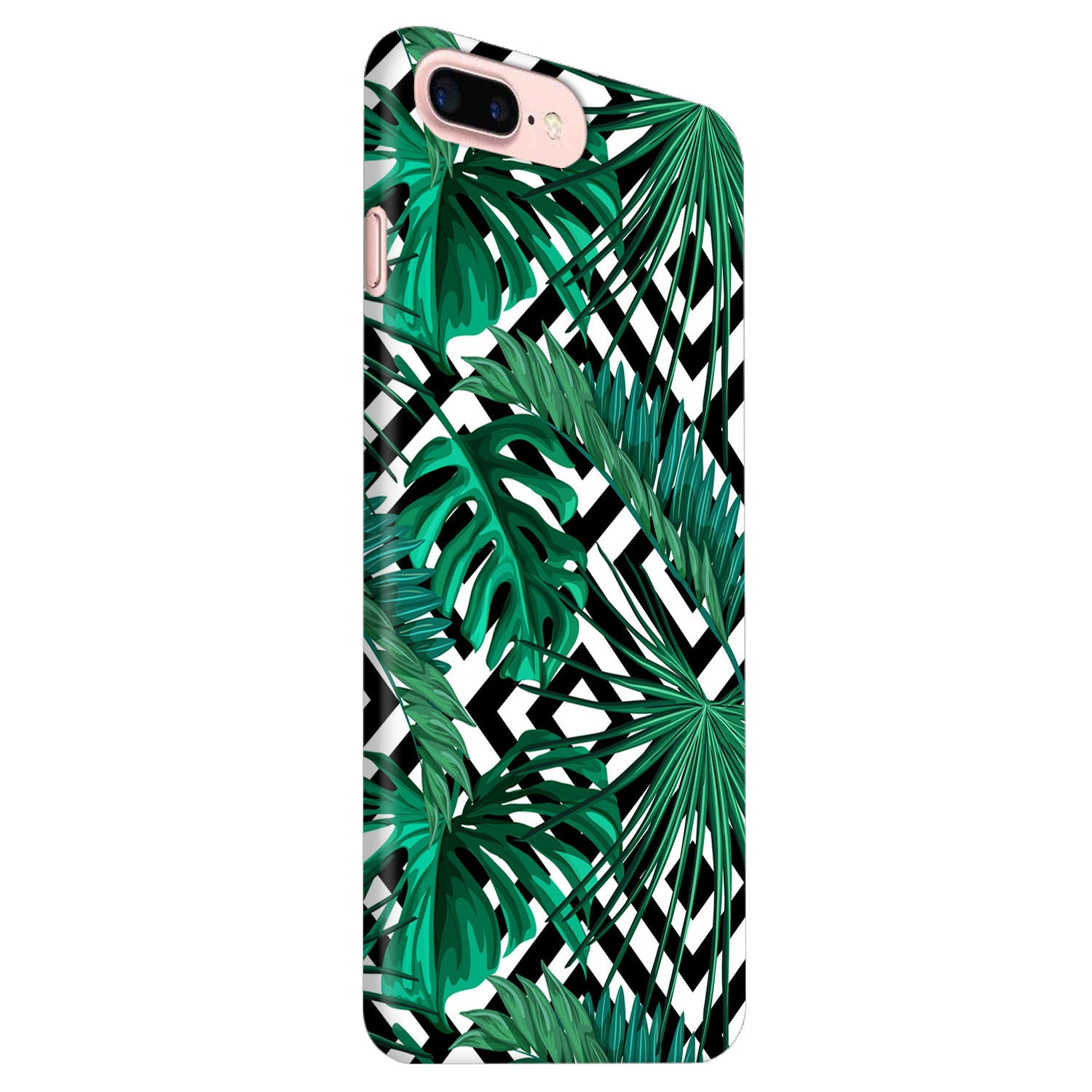 Tropical Leaves With Diamond Pattern iPhone 8 Plus Mobile Cover Case - MADANYU