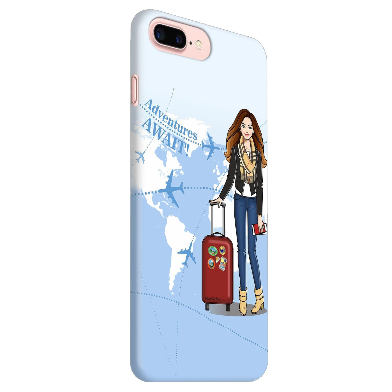 Girl Travel Adventure Await iPhone 8 Plus Mobile Cover Case - MADANYU