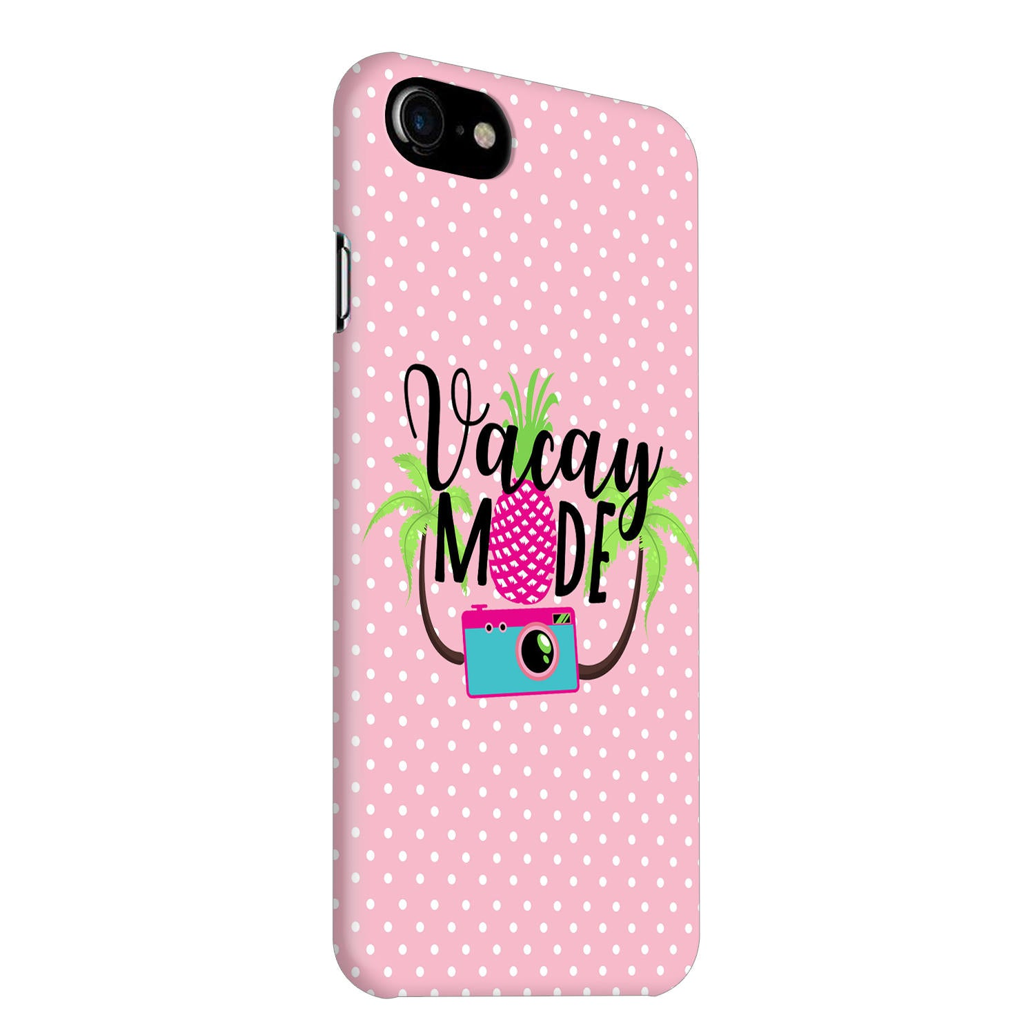 Vacay Mode With Cute White Dots Typography iPhone 7 Mobile Cover Case - MADANYU