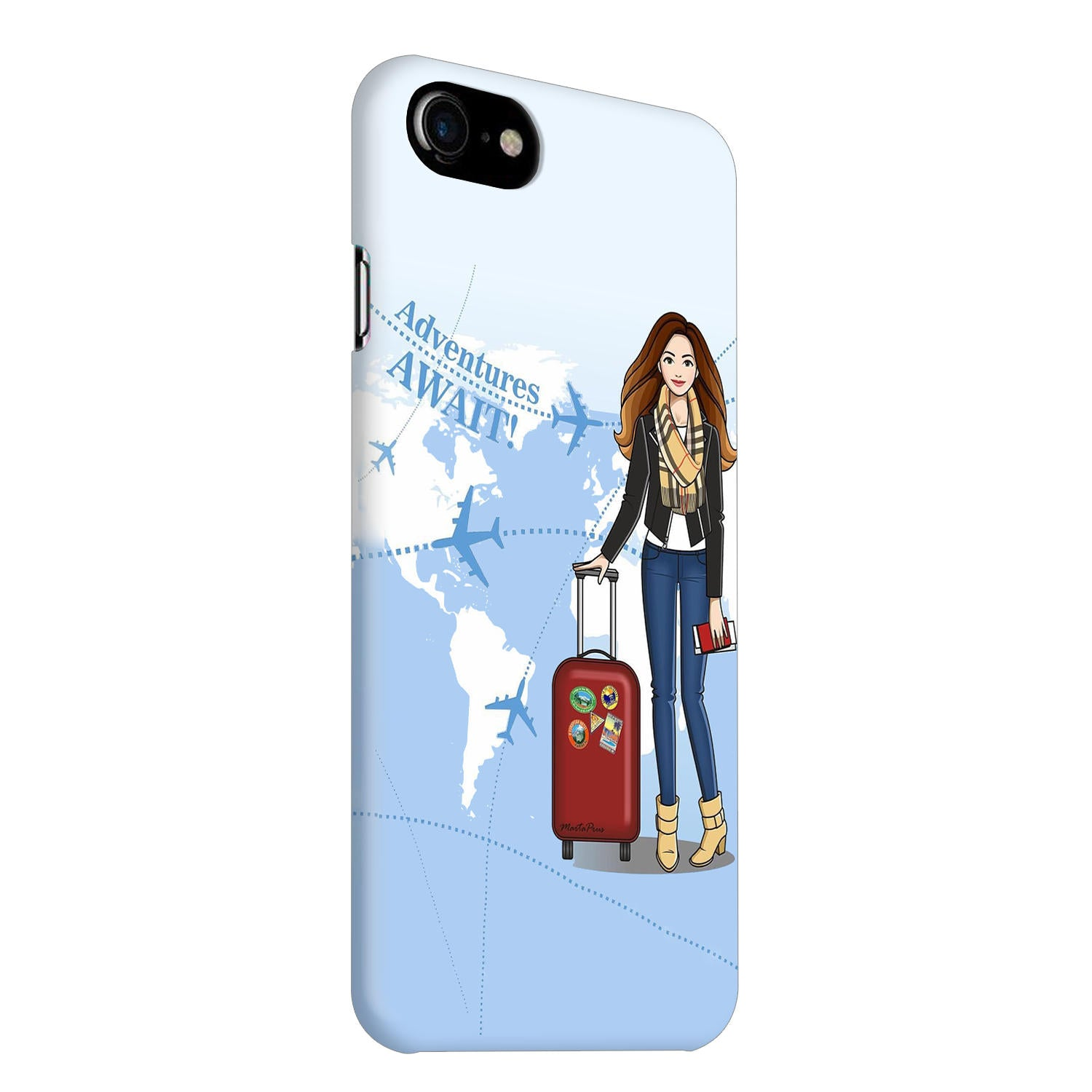 Girl Travel Adventure Await iPhone 8 Mobile Cover Case - MADANYU