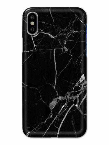 Black Marble Grey Veins iPhone X Mobile Cover Case - MADANYU