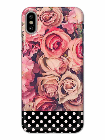Polka Peach Rose iPhone X Mobile Cover Case - MADANYU