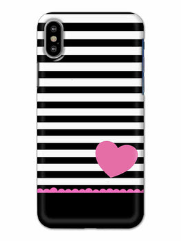 Stripes Heart Pink iPhone X Mobile Cover Case - MADANYU