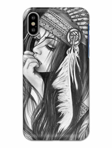 Triabal Girl Sketch iPhone X Mobile Cover Case - MADANYU