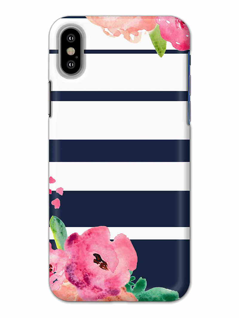 Floral Stripes iPhone X Mobile Cover Case - MADANYU