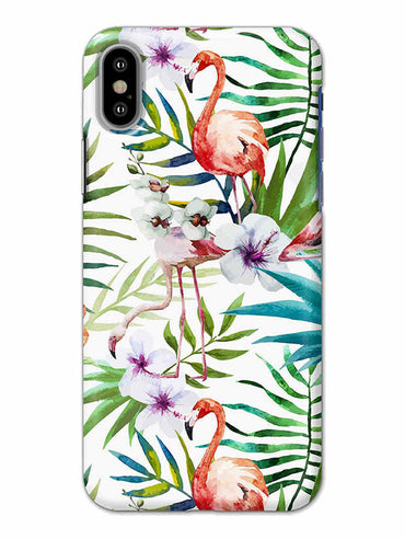 Flamingo With Leaves Nature Art iPhone X Mobile Cover Case - MADANYU