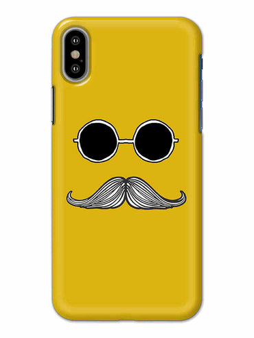 Cool Shady Moustache Yellow iPhone X Mobile Cover Case - MADANYU