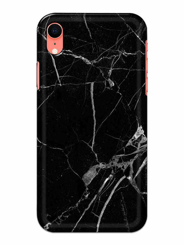 Black Marble Grey Veins iPhone XR Mobile Cover Case - MADANYU