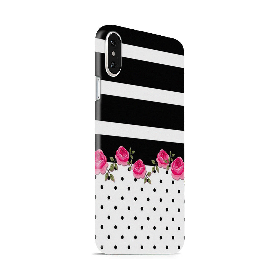 Rose Polka Stripes iPhone X Mobile Cover Case