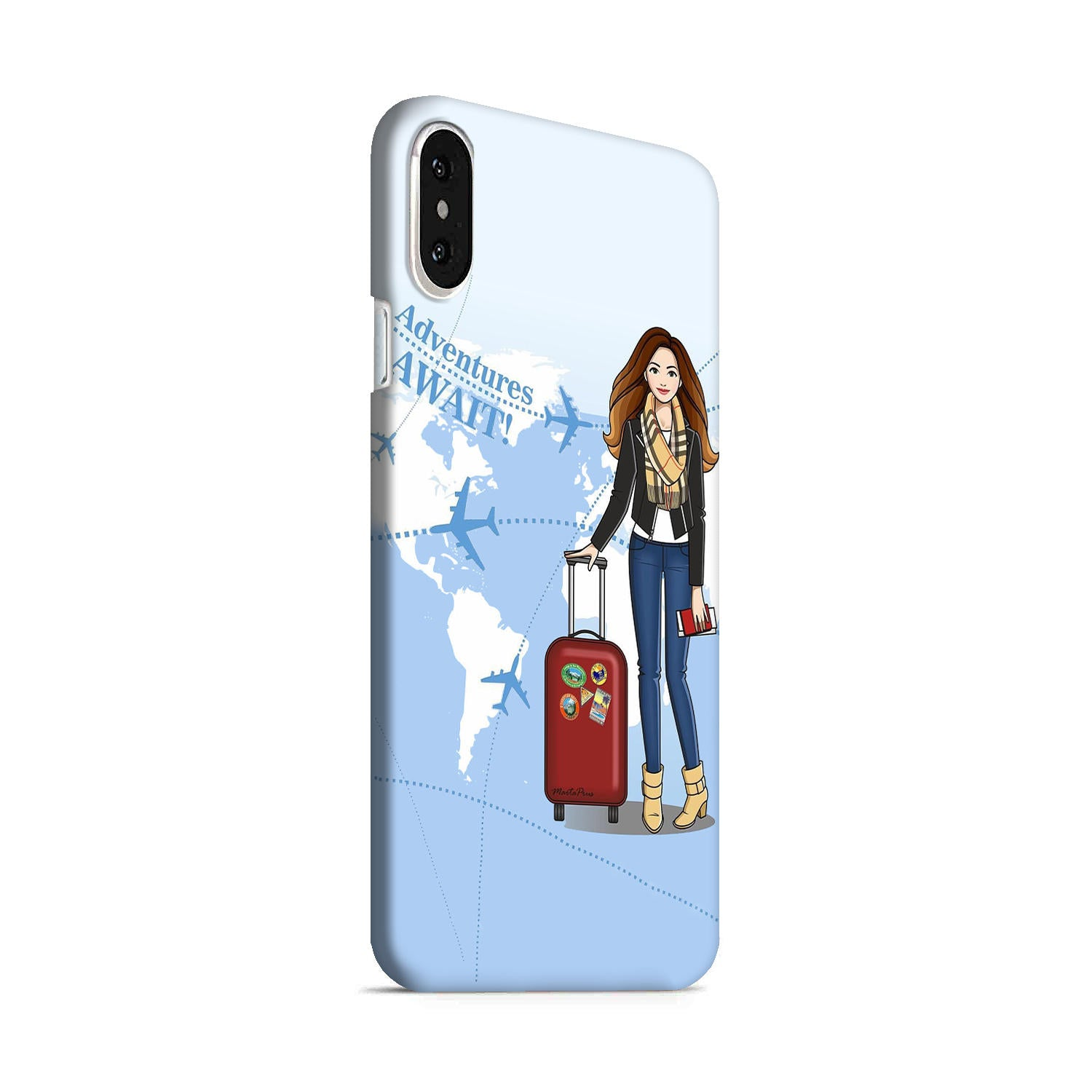 Girl Travel Adventure Await iPhone X Mobile Cover Case - MADANYU