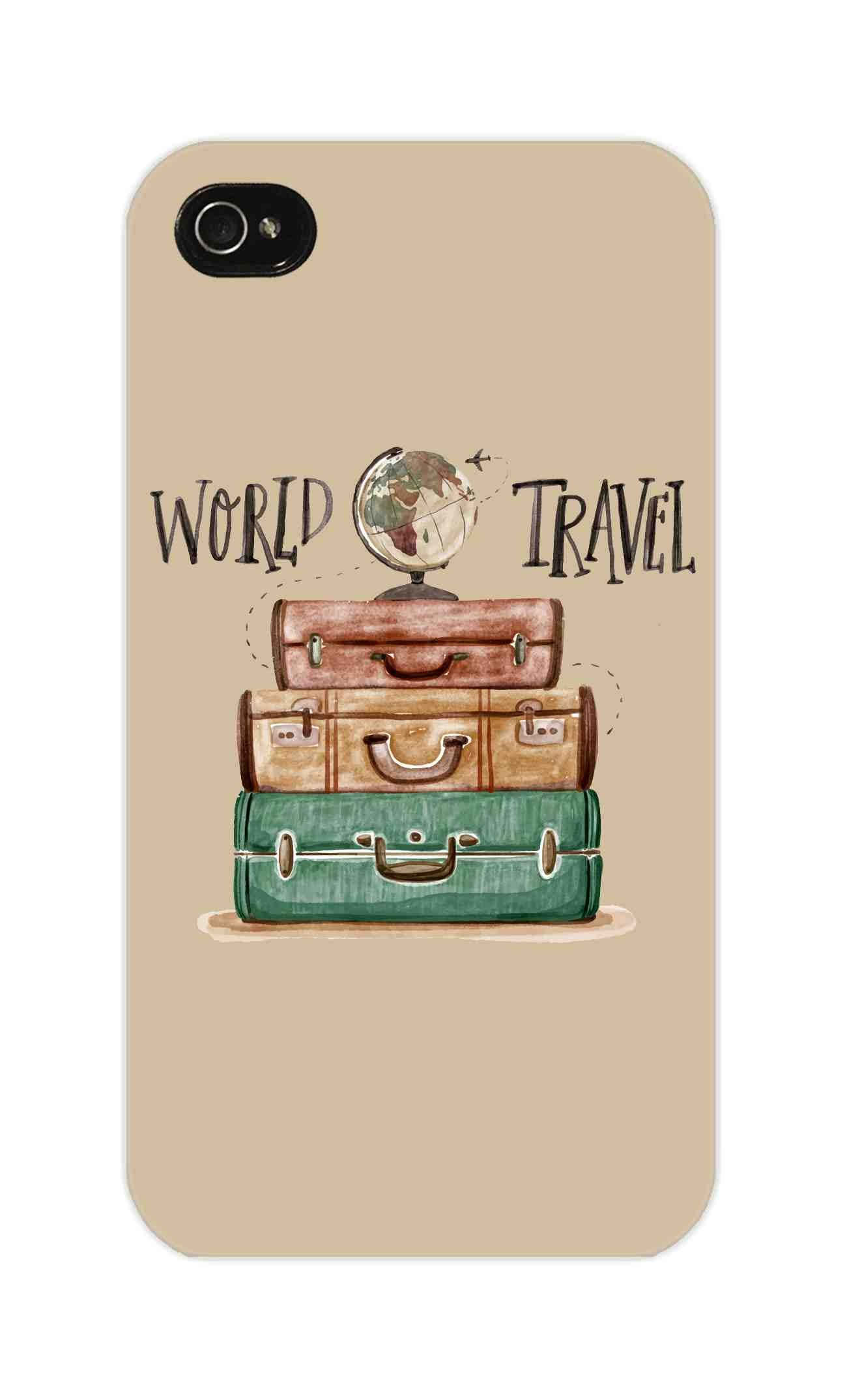 Travel World With Bags For Travellers iPhone 4 Mobile Cover Case - MADANYU