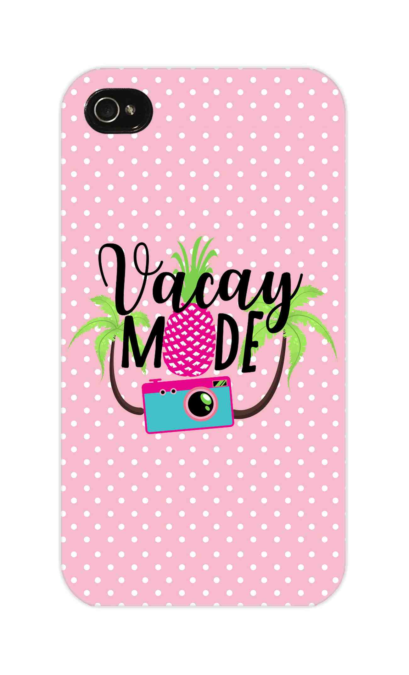 Vacay Mode With Cute White Dots Typography iPhone 4 Mobile Cover Case - MADANYU