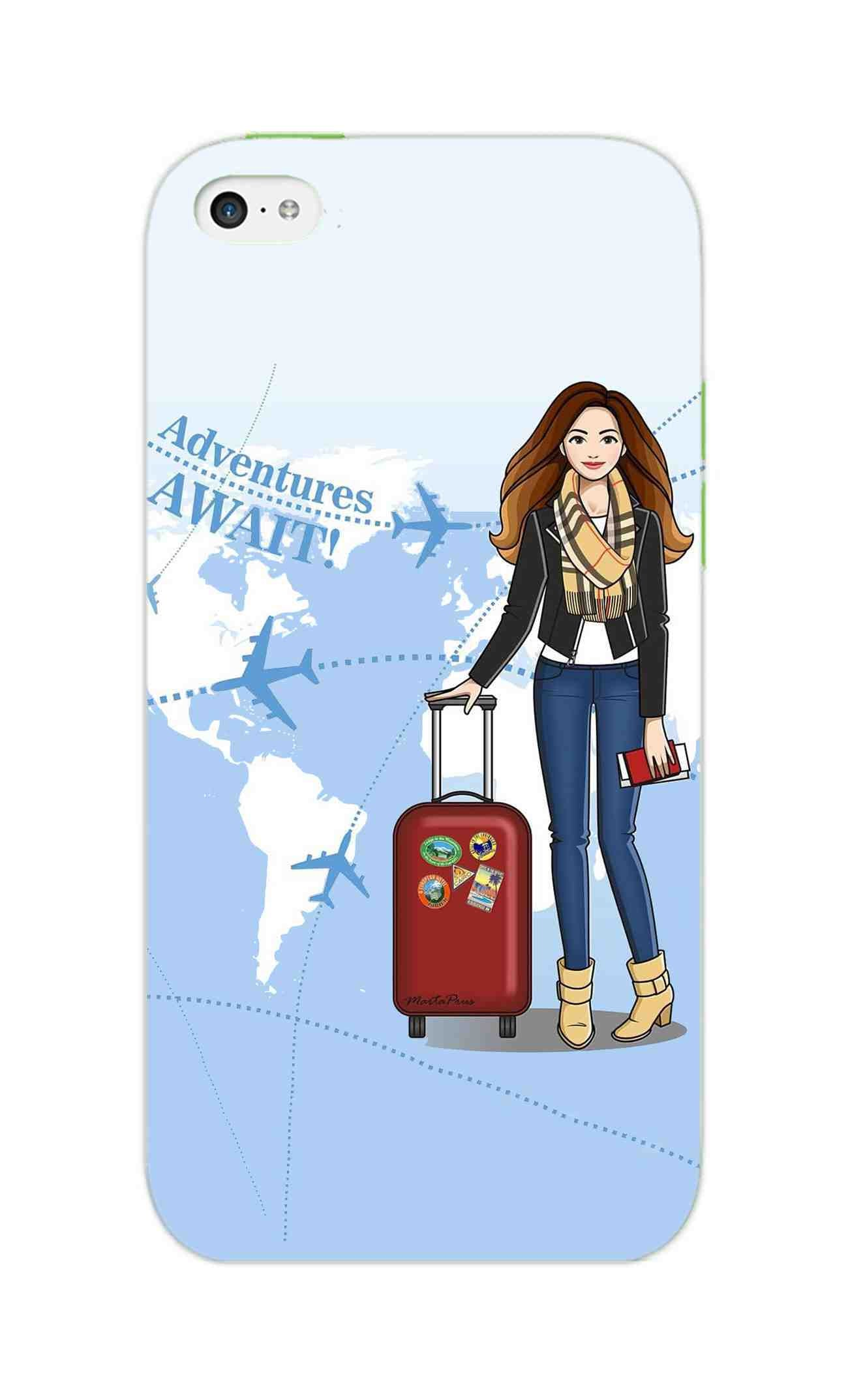 Girl Travel Adventure Await iPhone 5S Mobile Cover Case - MADANYU