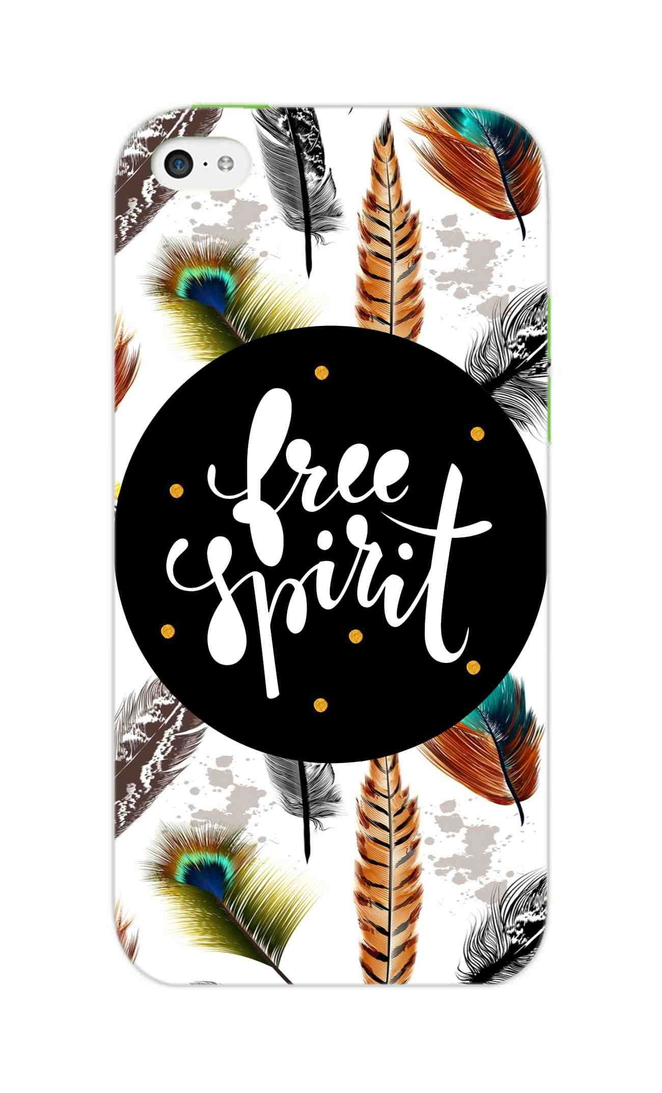 Free Spirit Colorful Feathers Pattern iPhone 5S Mobile Cover Case