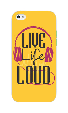 Live Life Loud headphone Quote Yellow iPhone 5S Mobile Cover Case