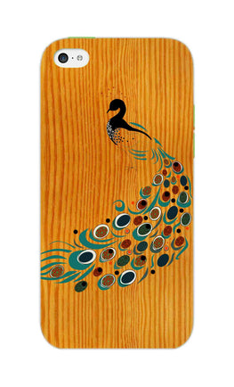 Peacock On Wood So Girly Pattern iPhone 5S Mobile Cover Case