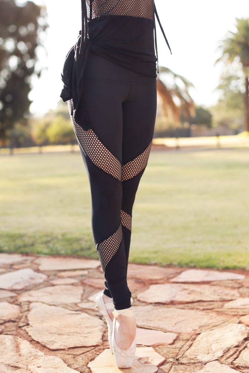 Winged Leggings - Black Mesh