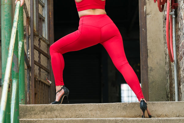 High Waisted Leggings - Red