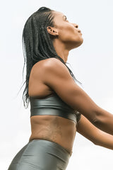 Elements Zipped Bra - Wet Look Anthracite