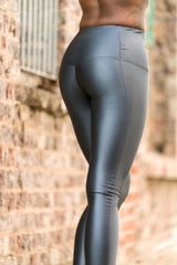 High Waisted Leggings - Wet Look Anthracite