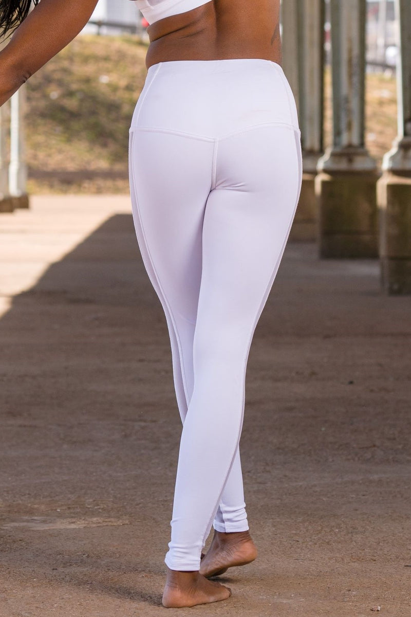 Strip High Waisted Leggings - White and Mesh