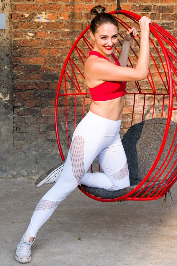 Winged Leggings - White Mesh