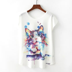 Novelty Women T Shirt Cat Print T-shirt