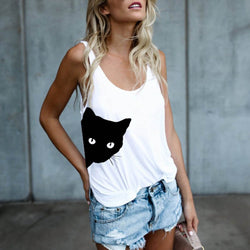 Women Cat Print Casual Tank Top