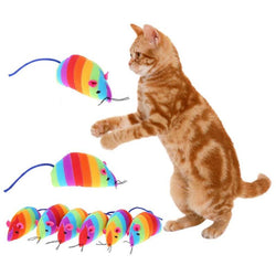 6 pcs Rainbow Mouse Cat Toys