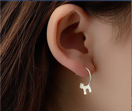 Silver Cat Hook Earrings
