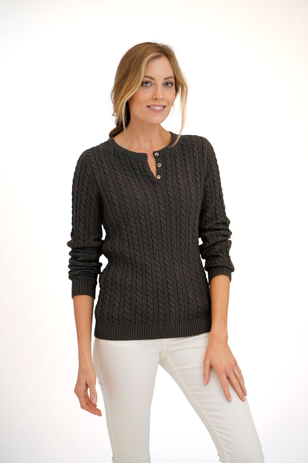 Heather Cable Henley
