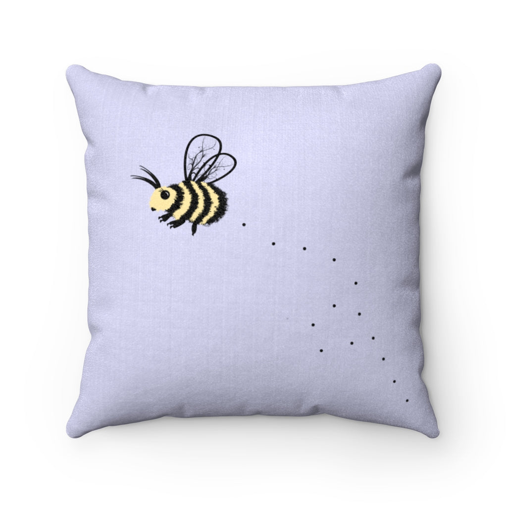 Cute Bee Faux Suede Square Pillow (Blue) - Bee Pillow - Bee Throw Pillow - Decorative Pillow - Bee Decor - Gift for Bee Lover - Bee Cushion