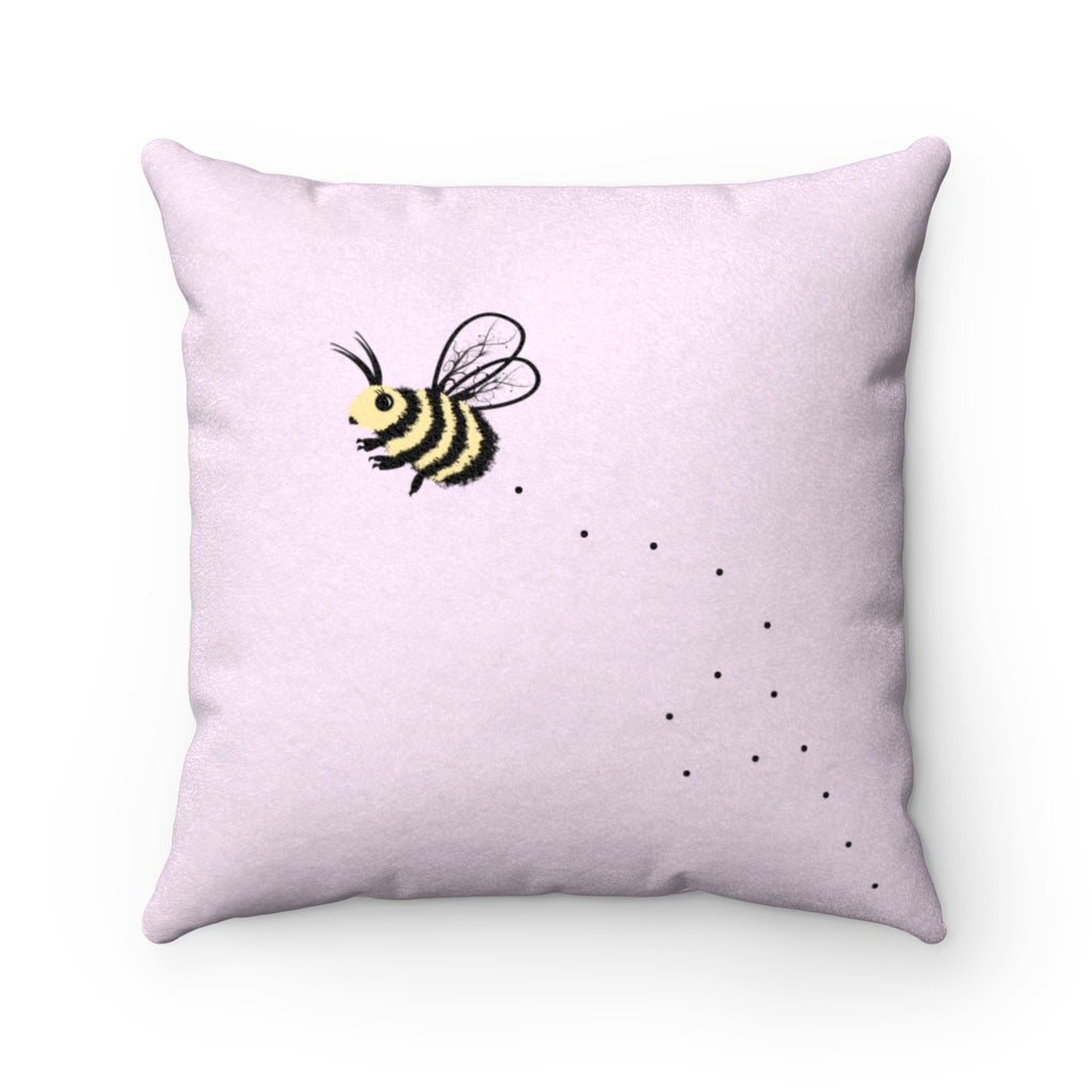 Cute Bee Faux Suede Square Pillow (Pink) - Bee Pillow - Bee Throw Pillow - Decorative Pillow - Bee Decor - Gift for Bee Lover - Bee Cushion