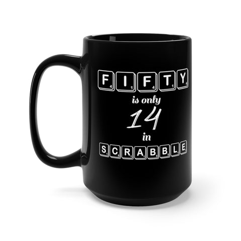 Black 50th Birthday Scrabble Mug