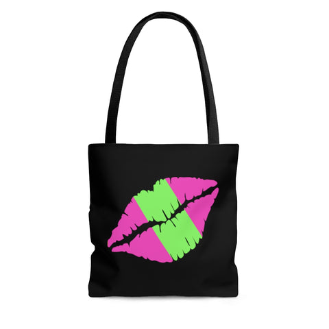 Lips Lime and Pink Tote Bag - Lips Tote - Lips Tote Bag - Lips Bag - Grocery Bag - Shopping Tote - Book Tote