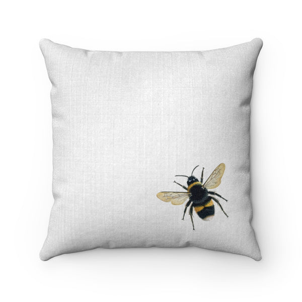 Vintage Bee Faux Suede Square Pillow (White) - Bee Pillow