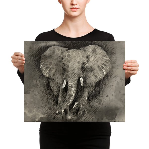 Elephant in B&W Canvas