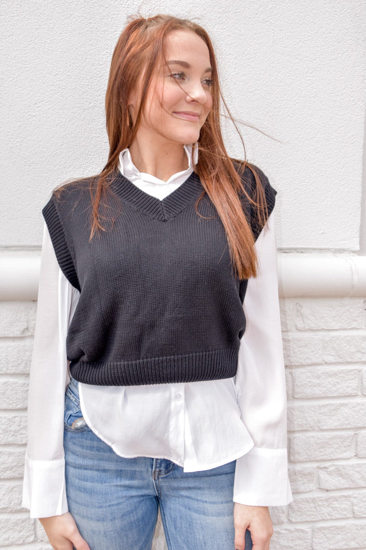 How About Now Sweater Vest Top-Top-U&I Boutique