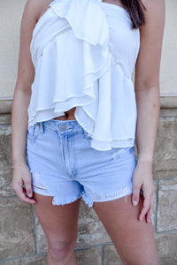 Back in Denim Distressed Shorts-Bottoms-U&I Boutique
