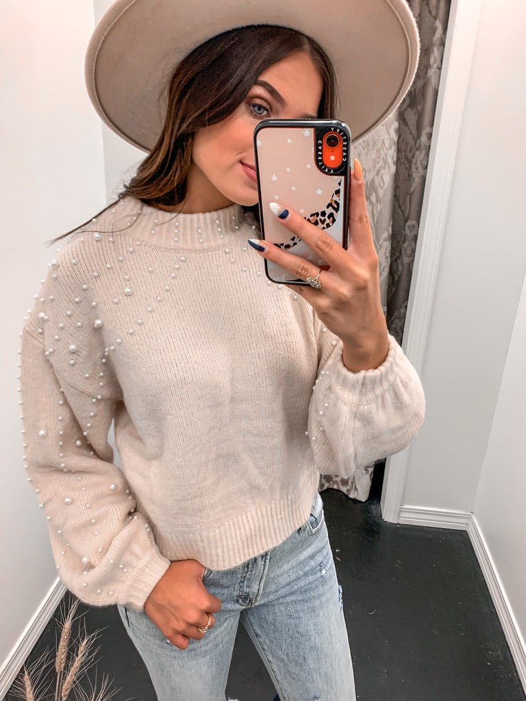 Covered In Pearls Sweater-Top-U&I Boutique