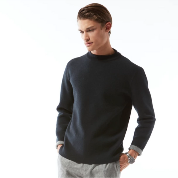 Reversible Cashmere Mock Neck Pullover