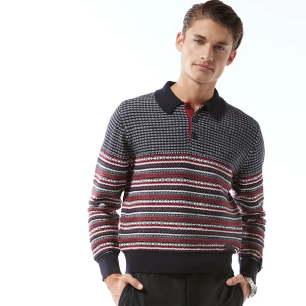 Merino Fair Isle Polo Collar Sweater