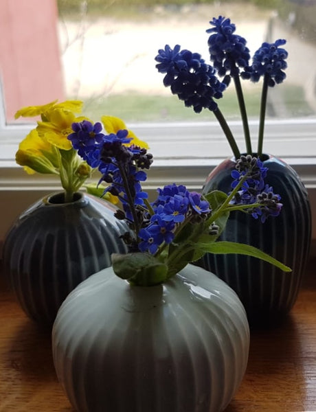 Set of 3 small vases - green/blue