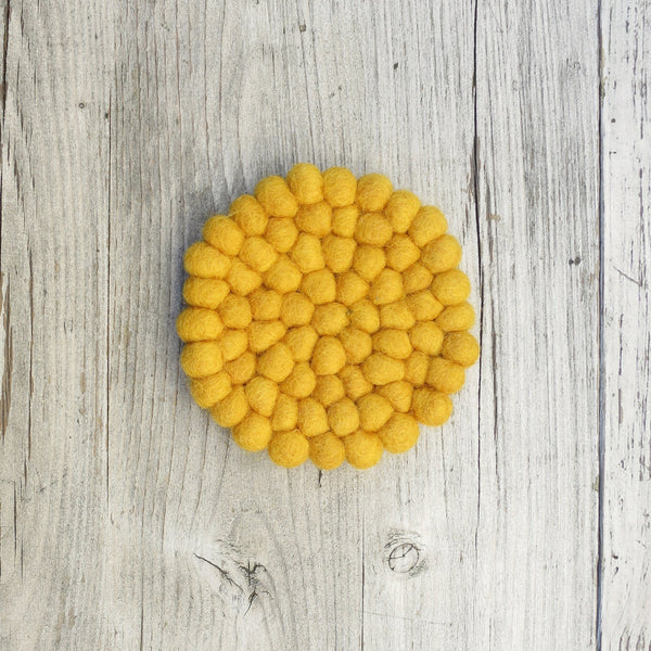 Handmade Eco Felt Coaster - Mustard Yellow