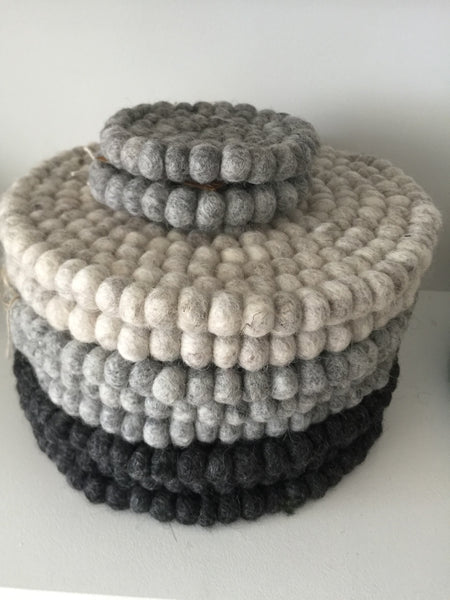 Handmade Eco Felt Coaster - Light Grey