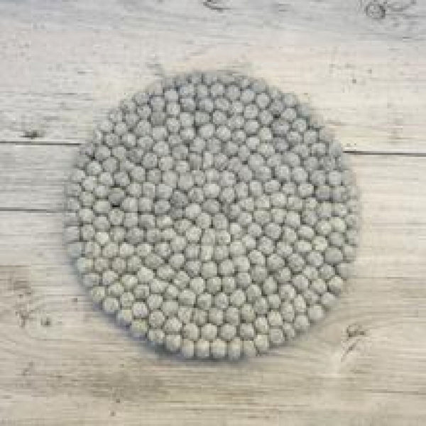 Handmade Eco Felt Ball Table Mat - Light Grey