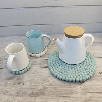 Handmade Eco Felt Coaster - Mint Green
