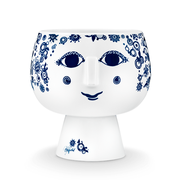 Juliane Flowerpot - Navy Blue & White