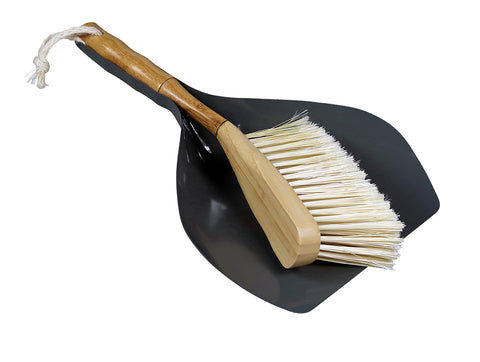 Grey Wood and Metal Dustpan and Brush