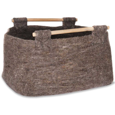 Felt Log Basket with Wooden Handles